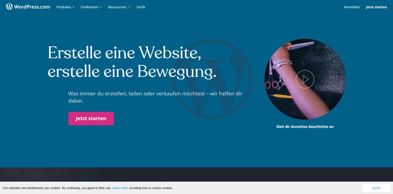 Erstelle eine kostenlose Website oder einen kostenlosen Blog